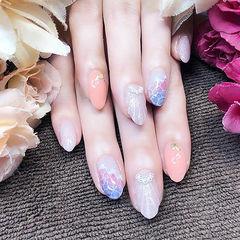 圆形粉色紫色银色手绘贝壳夏天珍珠想学习这么好看的美甲吗?可以咨询微信mjbyxs3哦~美甲图片