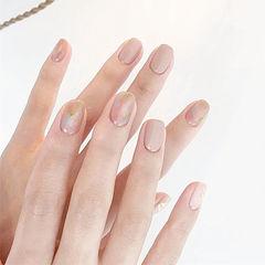 方圆形裸色粉色晕染简约上班族想学习这么好看的美甲吗?可以咨询微信mjbyxs3哦~美甲图片