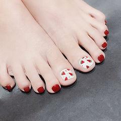 脚部红色白色手绘水果西瓜夏天想学习这么好看的美甲吗?可以咨询微信mjbyxs3哦~美甲图片