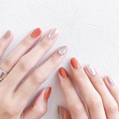 圆形橙色银色钻跳色夏天美甲图片