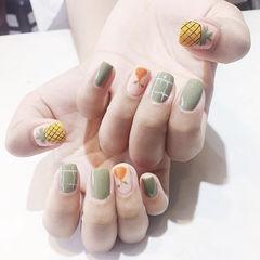 方圆形绿色橙色黄色手绘水果夏天想学习这么好看的美甲吗?可以咨询微信mjbyxs6哦~美甲图片