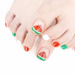 脚部红色绿色白色手绘水果西瓜夏天想学习这么好看的美甲吗?可以咨询微信mjbyxs6哦~v美甲图片