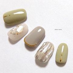 圆形绿色银色灰色水波纹贝壳片美甲图片