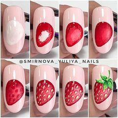 圆形红色绿色手绘水果草莓夏天教程美甲图片