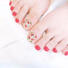 脚部红色樱桃亮片夏天想学习这么好看的美甲吗?可以咨询微信mjbyxs6哦~美甲图片