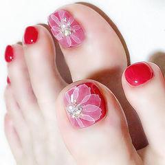 脚部红色白色手绘花朵新娘想学习这么好看的美甲吗?可以咨询微信mjbyxs6哦~美甲图片