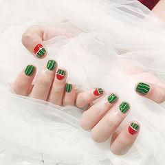 圆形红色绿色手绘水果西瓜夏天短指甲想学习这么好看的美甲吗?可以咨询微信mjbyxs6哦~美甲图片