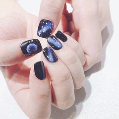 方圆形黑色蓝色手绘晕染星空想学习这么好看的美甲吗?可以咨询微信mjbyxs6哦~美甲图片