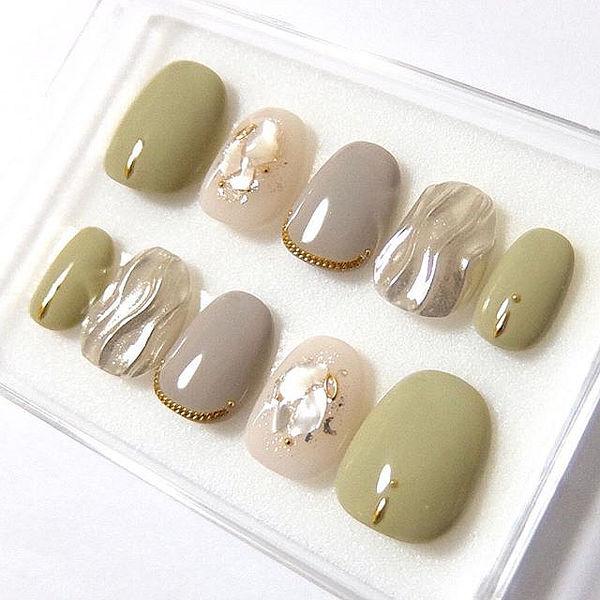 圆形绿色银色灰色水波纹贝壳片夏天美甲图片