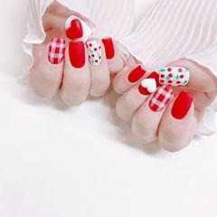 方圆形红色白色手绘水果樱桃格纹磨砂心形想学习这么好看的美甲吗?可以咨询微信mjbyxs6哦~美甲图片