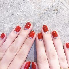 圆形红色银色简约新娘想学习这么好看的美甲吗?可以咨询微信mjbyxs6哦~美甲图片