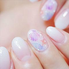 圆形白色渐变粉色蓝色手绘夏天想学习这么好看的美甲吗?可以咨询微信mjbyxs6哦~美甲图片