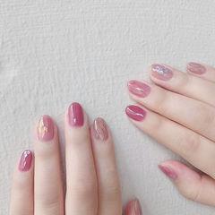 圆形粉色水波纹贝壳片想学习这么好看的美甲吗?可以咨询微信mjbyxs6哦~美甲图片