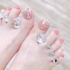 脚部粉色贝壳片想学习这么好看的美甲吗?可以咨询微信mjbyxs6哦~美甲图片
