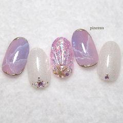 圆形紫色银色贝壳晕染石纹金属饰品夏天美甲图片