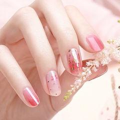 圆形粉色渐变金箔简约美甲图片
