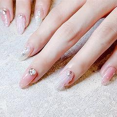 圆形粉色裸色珍珠贝壳简约夏天美甲图片