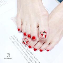 脚部红色手绘花朵夏天分享ins美图美甲图片