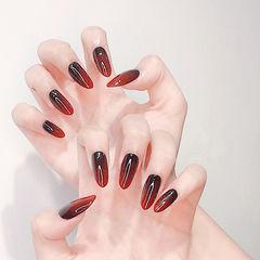 尖形红色黑色渐变想学习这么好看的美甲吗?可以咨询微信mjbyxs6哦~美甲图片