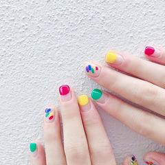 方圆形红色黄色绿色手绘彩虹圆法式跳色夏天美甲图片