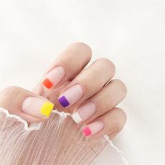 方圆形裸色紫色白色粉色橙色黄色磨砂简约学生美甲图片