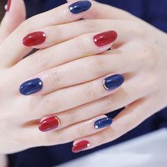 圆形红色蓝色跳色美甲图片