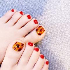 脚部红色棕色手绘豹纹琥珀秋天想学习这么好看的美甲吗?可以咨询微信mjbyxs6哦~美甲图片