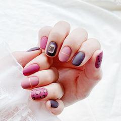 圆形玫红色紫色金银线钻手绘豹纹磨砂跳色美甲图片
