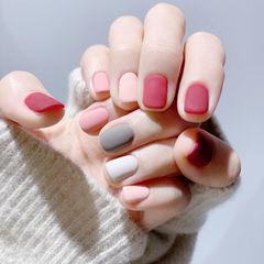 方圆形红色粉色灰色白色跳色磨砂美甲图片