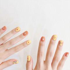 方圆形橙色黄色菱形磨砂短指甲美甲图片