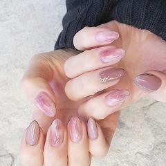 圆形粉色晕染新娘全国连锁日式学校学美甲加微信:mjbyxs15美甲图片