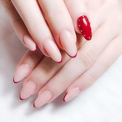 圆形红色法式简约新娘美甲图片