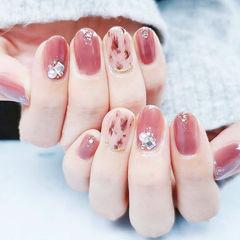 圆形粉色棕色手绘豹纹钻珍珠金箔全国连锁日式学校学美甲加微信:mjbyxs15美甲图片