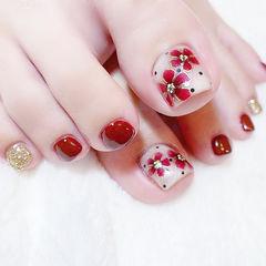 脚部红色金色手绘花朵新娘全国连锁日式学校学美甲加微信:mjbyxs15美甲图片