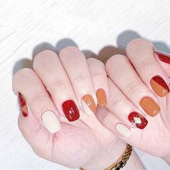 方圆形红色橙色白色跳色美甲图片