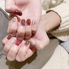 圆形红色白色晕染贝壳片金箔新娘全国连锁日式学校学美甲加微信:mjbyxs15美甲图片