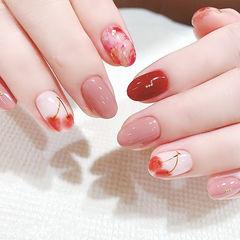 圆形红色粉色晕染手绘樱桃水果全国连锁日式学校学美甲加微信:mjbyxs15美甲图片