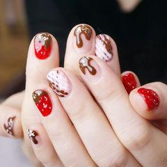 圆形红色棕色手绘巧克力草莓全国连锁日式学校学美甲加微信:mjbyxs15美甲图片