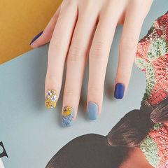 方圆形蓝色黄色手绘花朵磨砂跳色学美甲加微信:mjbyxs15美甲图片