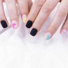 方圆形黑色粉色蓝色手绘可爱磨砂全国连锁日式学校学美甲加微信:mjbyxs15美甲图片