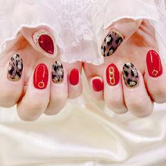 圆形红色黑色手绘豹纹金属饰品全国连锁日式学校学美甲加微信:mjbyxs15美甲图片