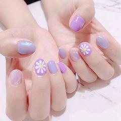 圆形紫色晕染手绘雏菊全国连锁日式学校学美甲加微信:mjbyxs15美甲图片