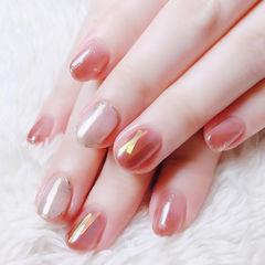 圆形粉色裸色晕染碎玻璃全国连锁日式学校学美甲加微信:mjbyxs15美甲图片