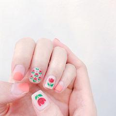 方圆形红色粉色绿色手绘花朵圆法式磨砂全国连锁日式学校学美甲加微信:mjbyxs15美甲图片