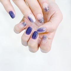 方圆形蓝色紫色晕染渐变亮片美甲图片