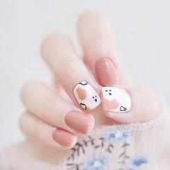 方圆形裸色白色手绘磨砂可爱全国连锁日式学校学美甲加微信:mjbyxs15美甲图片