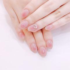 圆形粉色钻腮红甲美甲图片