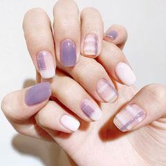 紫色格纹香芋紫色美甲图片