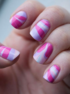 方圆形粉色紫色简约青春糖果蝴蝶结,很甜心的款哦~~美甲图片