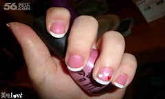 白色粉色法式可爱圆形004很少女的情人节美甲美甲图片